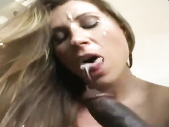 Luxurious pale mom wifey is plumbed by big black cock dude
