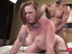 Chunky redhead cheats on her BF with a hung black guy
