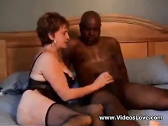 Short-haired MILF in sexy lingerie gets wrecked by a BBC