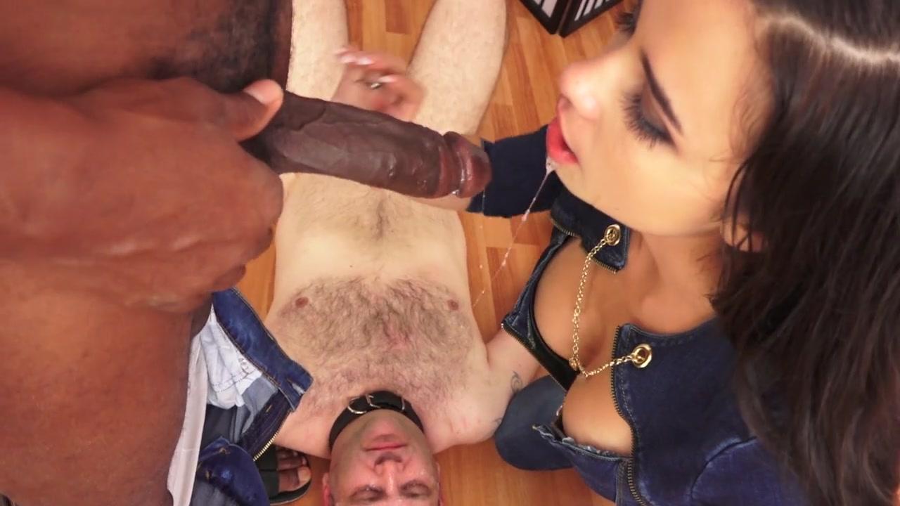 Slutwife humiliates her hubby sucking black cock